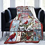 Socira Flannel Throw Blanket,Red Cardinal Birds Patchwork Small Fleece Sofa Blanket,Comfy Camping Lap Blanket,Super Soft Thin Noon Break Blanket for Office Home Car 40''X50''