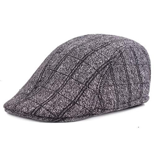 ERKEJI Flache Kappe, Herren Winter warme Baskenmütze Karierten Tuch vorwärts Mütze