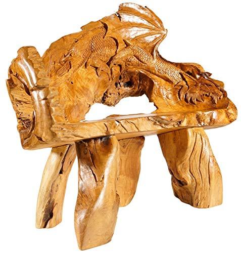 Windalf Natur Sitzbank SMAUCK 138 cm Rustikale Drachen Gartenbank Handarbeit aus Wurzelholz