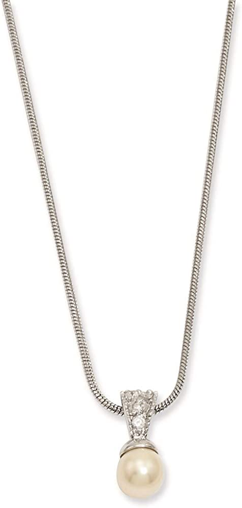 Chain Necklace with pendant Simulated Glass Limited time sale Cubic Ultra-Cheap Deals Pearl Zi White