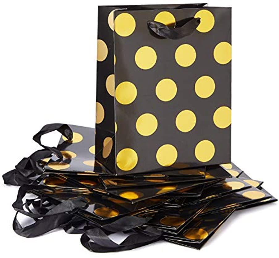 Style Design (TM) Dozen Gift Bags - 12 Beautiful Large Kraft Gift Bags for Presents, Parties or Any Occasion with Hot Stamp (Large, Black with Gold Polka Dots)