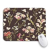 ROSECNY 可愛いマウスパッド 庭水彩花柄繊細な花野生の花ピンクレトロな滑り止めゴムバッキングノートブック用マウスパッド
