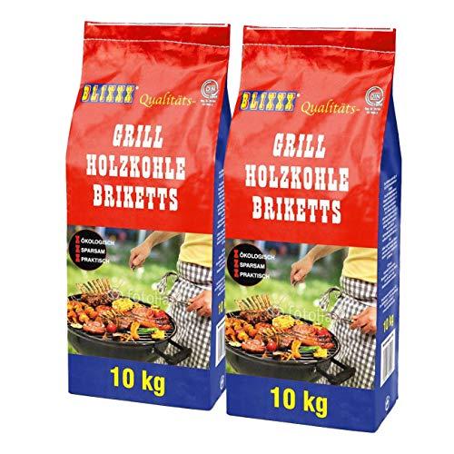 BLIXXX Grillbriketts Holzkohle Grillkohle Holzkohlebriketts Holzkohlegrill Grill (20kg)