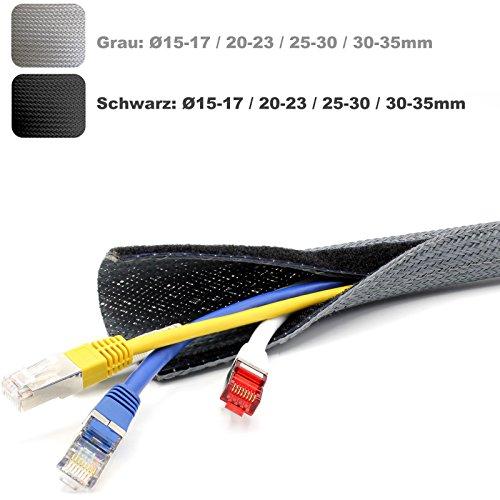 Preisvergleich Produktbild 2m Flex Kabelschutz Kabelschlauch Geflechtschlauch Klettverschluss Gewebeschlauch Klett in schwarz oder grau Ø 15-17,  20-23,  25-30,  30-35mm (grau Ø 25-30mm)