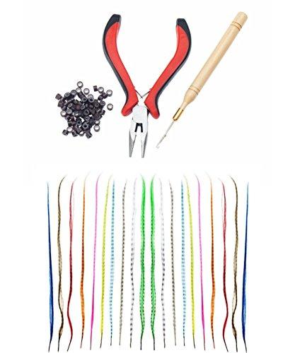 Profesional Peluquería salón de calidad Juego de Kit de 40 cm de larga duración pluma extensiones diferentes coloures y aplicadores herramientas incluye 100pc anillos, pinzas y mango de madera ganchos de VAGA