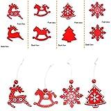 Camelize Stück Holz Weihnachten Deko Weihnachten Holzanhänger Weihnachstbaum Schmuck Natürlicher Christbaum-Behang für Weihnachten Geschenke DIY Handwerk Basteln - 7