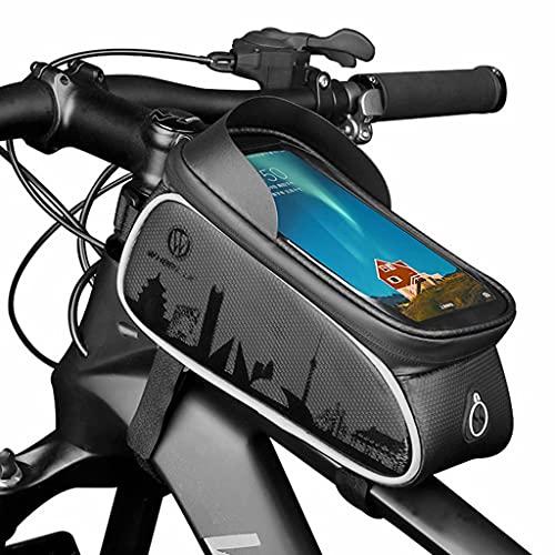 Bolsa Bicicleta, bolsa almacenamiento para sillín de bicicleta con pantalla táctil impermeable para teléfono móvil, bolsa de tubo superior portátil para ciclismo de montaña/carretera para exteriores