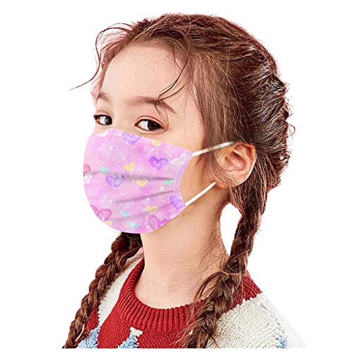 Koippimel Colorful Tie-Dye Disposable Face_Masks with Nose Bridge Clip, 3Ply Breathable_Mask for Kids Safety_Protection, 50PCS, 0217_51