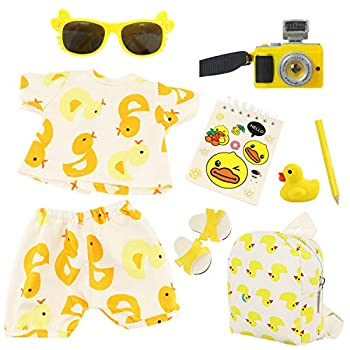9PCS American 18 Inch Doll Yellow Duck Bag Sunglasses Camera Notebook Slippers Doll Clothes and Accessories for 18 Inch Doll Generation Doll My Life Doll