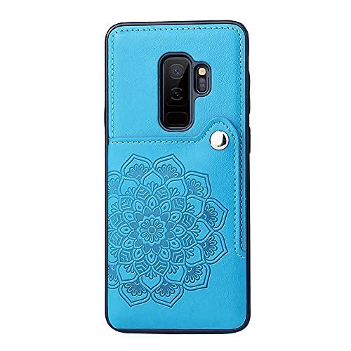 Funda protectora, Para Samsung Galaxy S9 Plus Wallet Teléfono Titular de la caja, Botones magnéticos de cuero PU, cubierta protectora a prueba de golpes a prueba de golpes para Samsung Galaxy S9 Plus