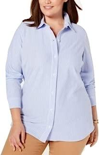 Charter Club. Plus Size Cotton Striped Shirt Blue Size XXXL