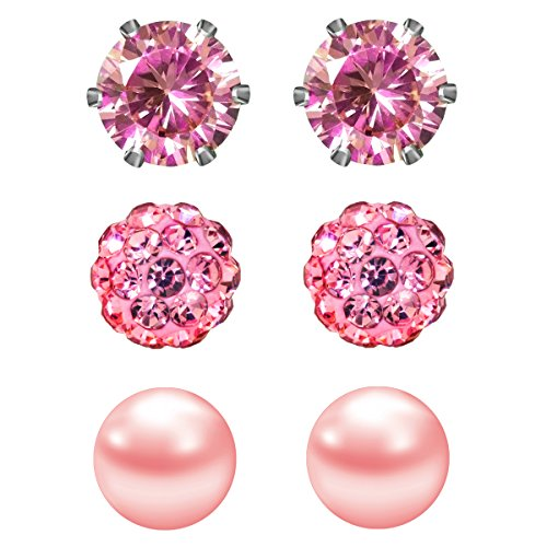 JewelrieShop Pink Studs Earrings for Women CZ Rhinestones Crystal Ball Fake Pearl Stainless Steel Party Stud October Birthstone Earring Set for Girl (3 pairs,6mm Round,Oct)
