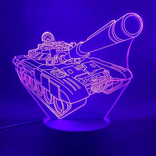 3D-Nachtlicht,Coole schöne 3D-Lampe Panzer betrieben, batteriebetrieben für Innen dekorative Led bunten Nachtlicht, mit Fernbedienung Geschenk für Kind