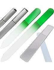 Clarente 爪やすり 爪磨き ガラス製 専用 ケース付 4点セット ネイル ケア