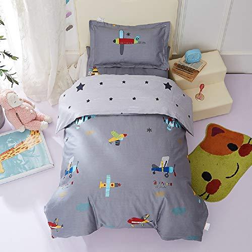 Lanqinglv Grau Bettwäsche Set 135x200cm Jungen Kinder 100% Baumwolle Flugzeug Sterne Wendebettwäsche Babybettwäsche Renforcé Bettbezug mit Reißverschluss und Kissenbezug 80x80 cm