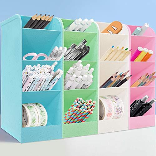 4 PCS Organizador de Escritorio para Lápices,Portalápices Multifuncional,Lapiceros para Escritorio,Organizador de Pluma,Soporte para Bolígrafo de Escritorio,16 compartimentos en 4 colores