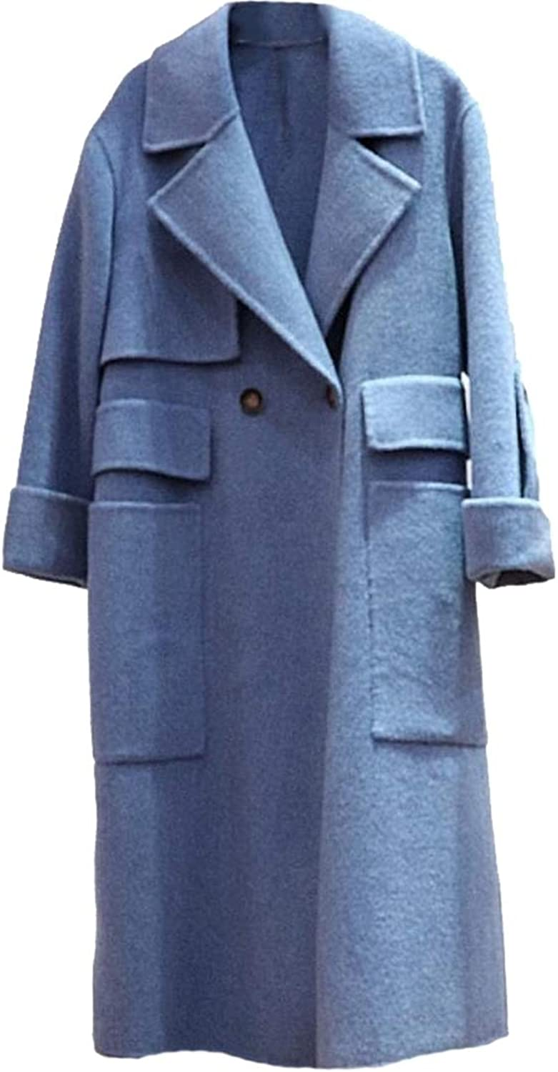 Sanderso Women's Laple Classic Double Breasted Long Wool Trench Coat Overcoat