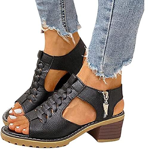 Cuisit Sandalias de tacón bajo de cuña media para mujer, sandalias de verano con puntera abierta, cómodas sandalias de noche casuales (negra)