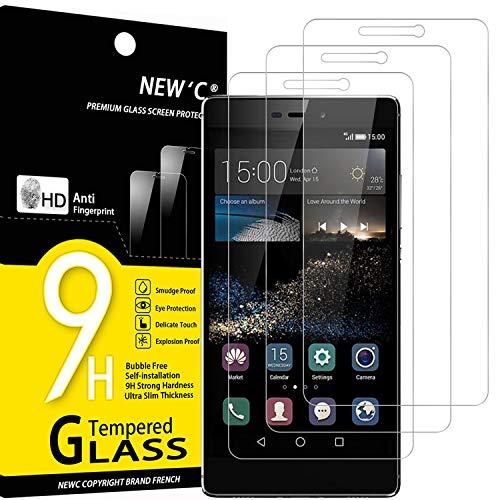 NEW'C 3 Stück, PanzerglasFolie Schutzfolie für Huawei P8, Frei von Kratzern Fingabdrücken & Öl, 9H Festigkeit, HD Bildschirmschutzfolie, 0.33mm Ultra-klar, Ultrawiderstandsfähig