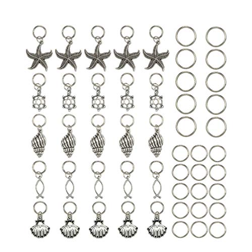 HEALLILY haarzopf Ringe Manschetten perlen Dreadlocks Charme sea Star Muschel anhänger Haarschmuck für DIY Handwerk 50 stücke (Mixed Patern)