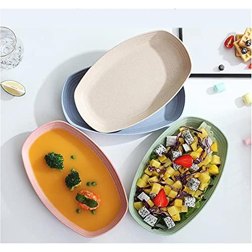 NSWDC Paquete de 4 Platos de Paja de Trigo, Platos y bandejas irrompibles, recipientes para refrigerios de Frutas sin toxinas y sin BPA, vajilla, para niños, niños pequeños y Adultos
