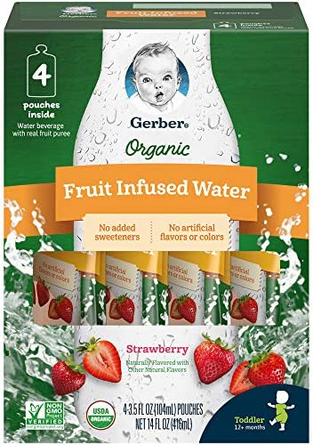 Gerber Purees Organic Fruit Infused Water Pouches Strawberry 3 5 Ounces 16 Count Pack of 1 product image
