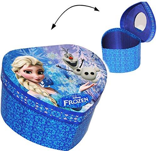 alles-meine.de GmbH Schmuckkasten - mit Spiegel & Glitzer -  Disney die Eiskönigin - Frozen / Herz  - Mädchen - Utensilo - Kinderzimmer - z.B. für Schmuck - Schmuckbox - Schmuc..
