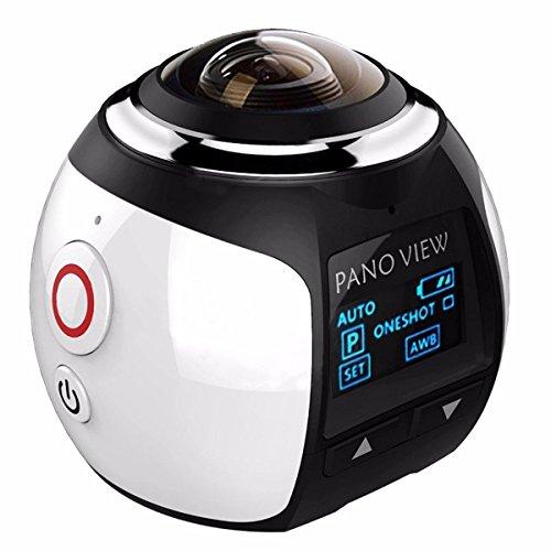 Hellenhe 16MP 4K (2448 * 2448 / 30fps) Camera 360 gradi panoramica VR Azione, sferico Lens, 3D, impermeabile, Wi-Fi, supporto gratuito VR auricolare Video Replay