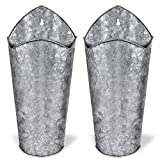 SAND MINE Galvanized Metal Wall Planter, Hanging Wall Flower Vase for Succulents or Herbs, Wall Planters for Country Rustic Home Farmhouse Wall Decor, Set of 2, Silver