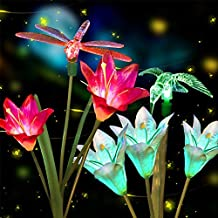 Anpro 2 PCS Solar Garden Lights Outdoor, Garden Decor with 6 Lily Flower and Butterflies Combination Decorative Lights Mul...