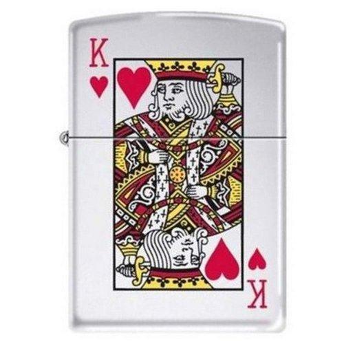 "Zippo ""King Of Hearts-Poker"" High Polish Chrome Lighter, 7555"