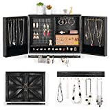 XCSOURCE Wall Hanging Jewelry Organizer Rustic| Wall Mounted Mesh Jewelry Holder | Wooden Wall Mount Holder for Necklaces, Bracelets, Earrings, Ring Holder, Accessories | Hanging Jewelry Box(Black)