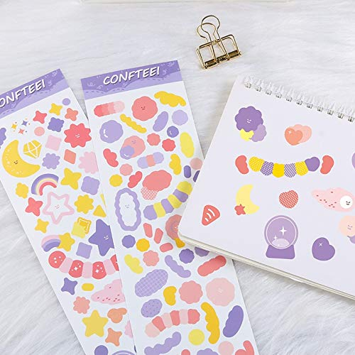PMSMT Pegatinas de Cinta Creativas de Corea Ins, papelería Decorativa, Estrellas, Luna, Diario, álbum de Bricolaje, Pegatinas de Material para Etiquetas