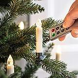 Lights4fun - Set di 10 Candele Avorie LED con Mollette per Albero di Natale a Pile con Telemando