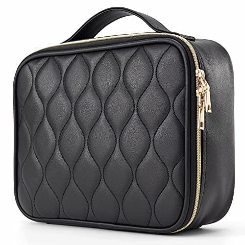 Travel Makeup Bag,Vegan Leather Makeup Bags for Women, Large Cosmetic Bag Travel Toiletry Bag for Girls Make Up Bag Brush Organizer Bags (Squishy, Classic Black Mountain Range Texture)