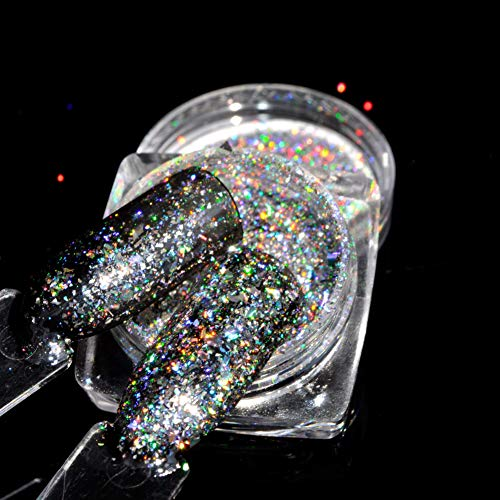 QSDFG 0.2gram/doos Zilver Flake Poeder Bling Nagel Flecks Glitter Poeder Chroom Sparkly Flakes Laser Flakes
