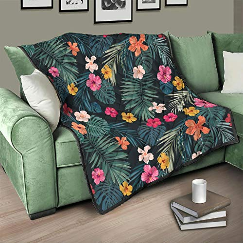 Colcha tropical con hojas y flores, colcha para cama, sofá, manta de invierno, para adultos y niños, color blanco, 130 x 150 cm