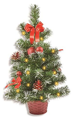 Riffelmacher Geschmückter Weihnachtsbaum beleuchtet 50cm 20259 - Rot - Weihnachtsbaum mit Lichterkette Schleifen Christbaumkugeln