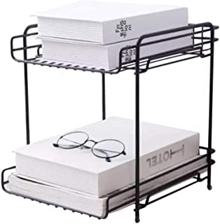 $44 » LIULIFE 2-Tier Organiser Rack, Wire Basket Storage Container Countertop Shelf for Kitchenware Bathroom Cans Foods Spice Office A4 Paper Books,Black