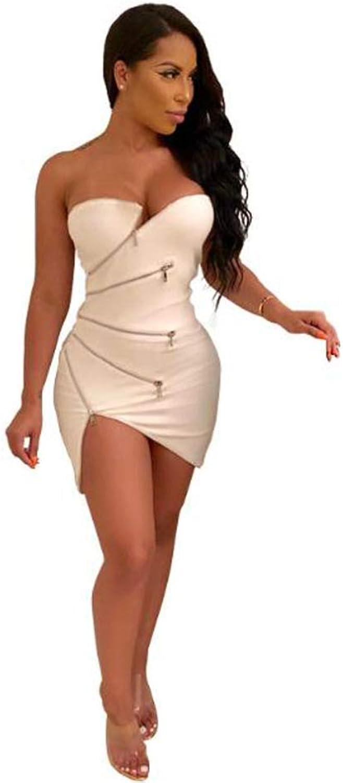 RATWIFE Women's Sexy Tube Top Irregular Zip Dress Dress Wrapped Chest Tight Shoulder Short Skirt