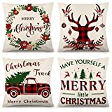 Juego de 4 fundas de almohada de Navidad YGEOMER de 18 x 18 pulgadas, color negro y rojo búfalo a cuadros fundas de almohada de lino rústico para sofá, decoración de Navidad, fundas de almohada