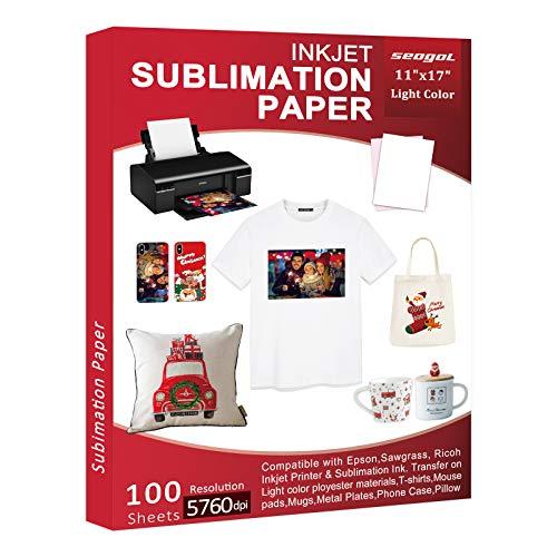 Papel de sublimación de 100 hojas para impresora de inyección de tinta con tinta de sublimación Epson, Sawgrass, Ricoch, sublimación de transferencia de calor para tazas, camisetas, tela ligera
