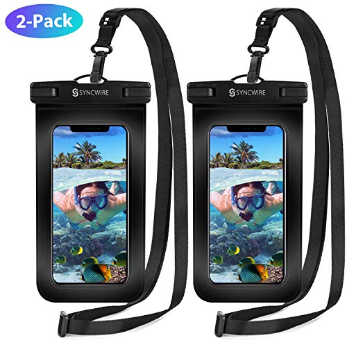 Syncwire Waterproof Phone Pouch 2Pack  Universal IPX8 Cell Phone Waterproof Case Dry Bag Protector with Lanyard for Taking Pictures Compatible with iPhone Samsung and More Up to 7 Inches