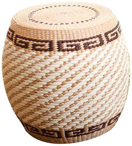 B-fengliu Banco de paja, Asiento Taburete de estructura de madera maciza Sentado Taburete taburete bajo estilo chino simple rural taburete de barra redonda muelle cilíndrica exterior del tambor de las