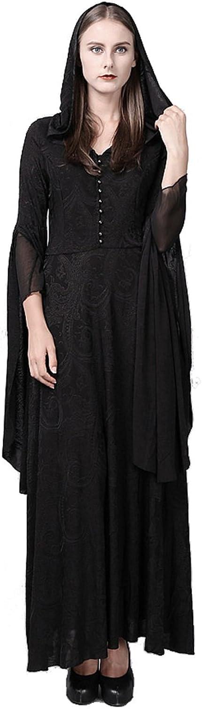 Gothic Punk High Priestess Long Coat Dress for Women Black Hooded Coats Dress