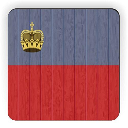 Rikki Knight Liechtenstein Flagge auf Distressed Holz Design Quadratisch Kühlschrank Magnet