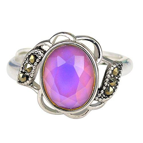 Fun Jewels - Stimmungsring mit oval facetten geschliffenem Stein - Farbwechsel je nach Stimmung - Vintage-Stil - Blütenform - Messing