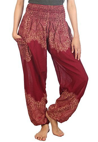 LOFBAZ Palazzo Pants for Women Harem Yoga Maternity Joggers Pajama Hippie Boho Travel Lounge Clothing Bohemian Beach Floral 1 Burgundy Small