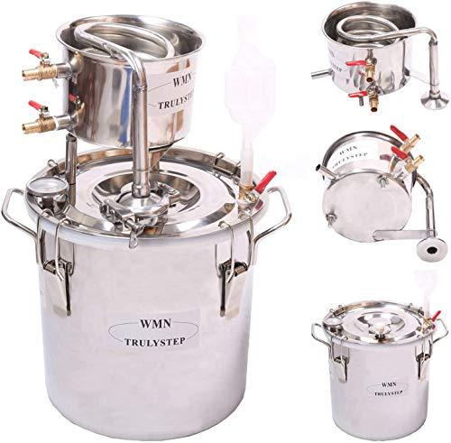 Fayelong Destilador de agua de 2 galones/10 litros de acero inoxidable con alcohol Moonshine Stills para hacer vino, fermentación para hacer whisky, vino, brandy vodka (2 gales/10 litros)