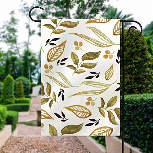 No Brand Double face | Drapeau décoratif de jardin de printemps avec feuilles vertes et motif floral 30,5 x 45,7 cm
